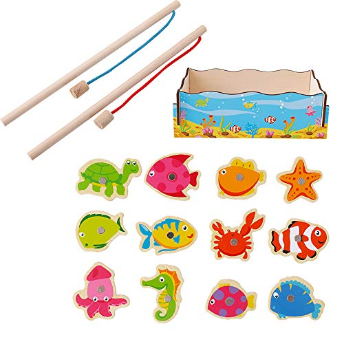 KEEYSUN Kid Children Baby Toddler Boy Girl Magnet Toy Magnetic Wooden Fishing Game and Puzzle with Wooden Marine Animal Magnet (Multicolor) ()