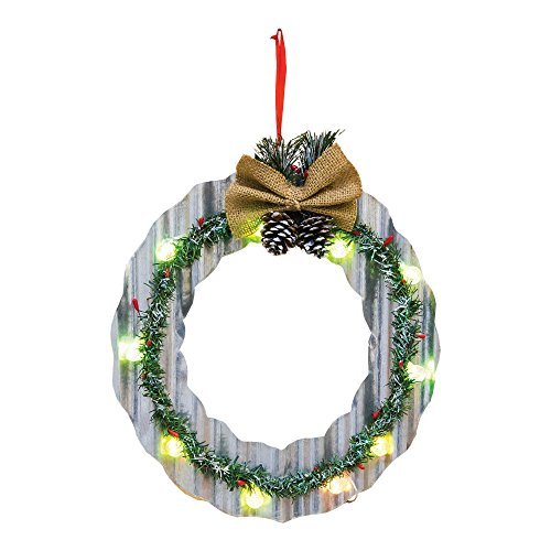 Christmas Wreath Pine Cone 14 Inch Light Up Metal Door Hanger -
