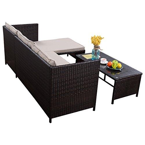 Tangkula 3 PCS Outdoor Rattan Furniture Sofa Set Lounge Chaise Cushioned Patio Garden by Tangkula (Image #3)
