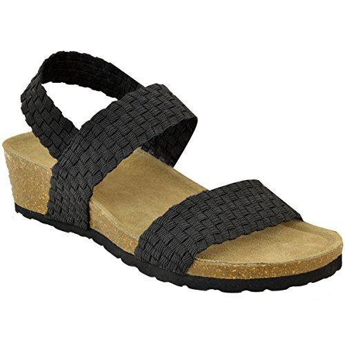 Heel Wide Low Sandals Elastic Elastic Womens Cushioned Black Wedge Stretch Ladies Fit Comfort xSXgpt