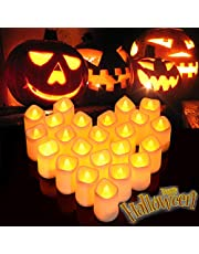 Litake Halloween LED Candle Lights,Flickering LED Pumpkin Lights, Battery Operated LED Votive Candles, Warm White Romantic Candle Lights for Festival Party Wedding Decor,24 Packs