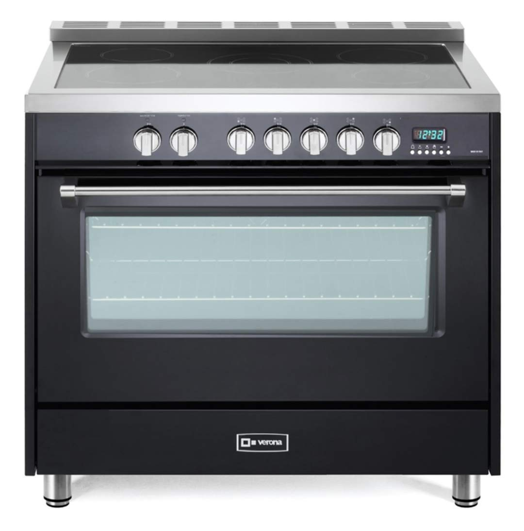 Verona Designer Series VDFSEE365E 36 Inch 5.0 Cu. Ft Electric Range Oven 5 Burners Dual Center Element Smoothtop Black Ceramic Cooktop Convection Matte Black