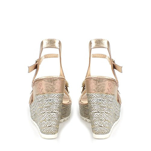 Miss Diva Polly Ladies Women High Wedge Ankle Strap Flower Trim Espadrille Open Toe Wedge Sandal Champagne l387xEZgXq