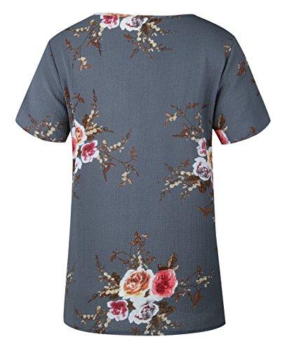 Camicie shirt Elegante T Corta Maglietta Casual Estivi Blouse Jinglive Blusa Top Girocollo Donna Grigio Manica Fiori SUnqg