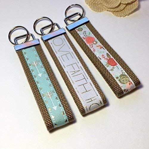 Key Fob Mini or Wristlet Keychain. Floral. Love Faith Hope. -