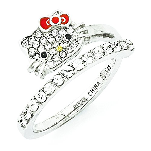 Hello Kitty Czech Crystals Flat Pave Face and Red Bow Girl's Spiral Ring, Size 7