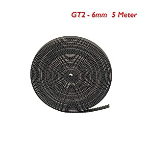 GT2 Timing Belt for 3D Printer, FYSETC 5 Meters (16.4 Ft) Length Open Belt 2mm Pitch 6mm Width Rubber Fiberglass reinforced for RepRap Pursa i3 3D Printer CNC by Fuyuansheng