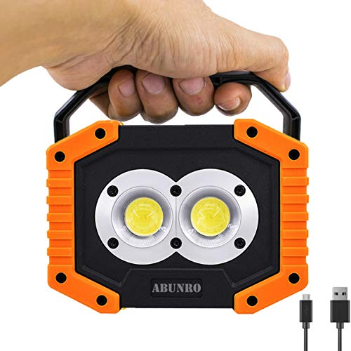 Work Light Rechargeable 20W COB Job Site Spotlights Built-in 6400 mAh Rechargeable Battery 3 Mode IP55 Waterproof for Camping Household Workshop Automobile Emergency Use