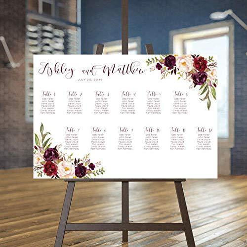 (MaxwellYule Wedding Seating Chart Marsala Seating Chart Burgundy Seating Chart Rustic Seating Chart Autumn Wedding Seating Plan Boho Wedding Carry 18X24 inch)