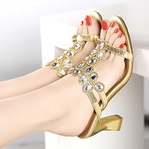 KHSKX-Zapatillas De Tacon Alto Verano Diamante Con Gruesas Con Un Diamante Sandalias Sandalias Golden