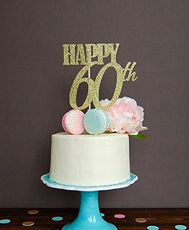 Amazon Astra Gourmet Gold Glitter Happy 60th Birthday Cake