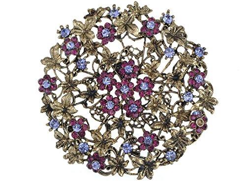 Alilang Womens Antique Golden Tone Purple Rhinestones Vintage Floral Flower Wheel Brooch Pin