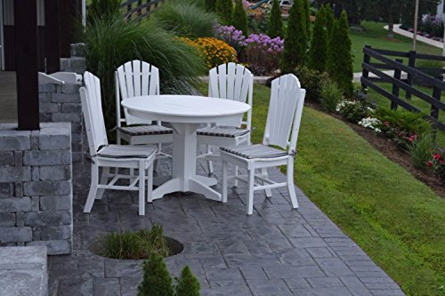 A&L Furniture Amish-Made Poly Outdoor Dining Set: Round Table and 4 Adirondack Chairs, White