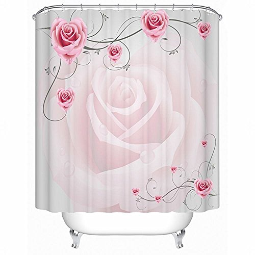 (Alicemall 3D Pink Rose Floral Shower Curtain Set Fabric Waterproof Polyester Mildew Resistant Bathroom Curtains with Hooks (71