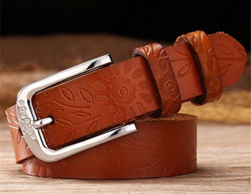 ZHANGYONG Female Cattle Leather Belt Leather Pants Casual Jeans Belt Extended Bandwidth Code,Brown,125CM