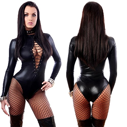 MeMoreCool Sexy Girls Nightclubs Costumes Black Patent Leather Romper Sexy Lingerie Stage Performance Clothing