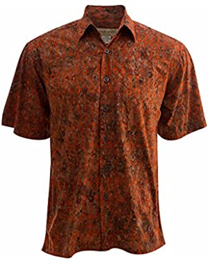 Fire Diamonds Tropical Hawaiian Cotton Batik Shirt By