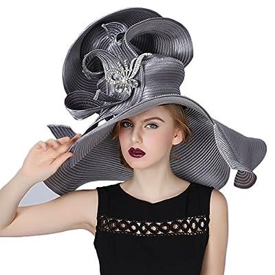 Koola Women's Church Derby Hat Big Wide Brim Wedding Hat Tea Party Hat