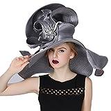 Koola Women's Silvery Church Derby Hat Big Wide Brim Wedding Hat Tea Party Hat