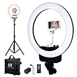 "Nanguang LED Ring Light 16"" Bi-color Dimmable Ring Light and Stand,Cellphone Holder,Mirror,Battery and Charger for Outdoor Shooting, Live Streaming,Make Up,Youtube Video"