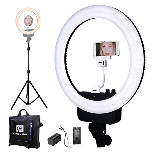 "Nanguang LED Ring Light 16"" Bi-color Dimmable Ring Light with Stand,Cellphone Holder,Mirror,Battery and Charger for Outdoor Shooting, Live Streaming,Make Up,Youtube Video by NanGuang"