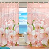 INGBAGS Bedroom Decor Living Room Decorations 3D Pink Flowers Pattern Print Tulle Polyester Door Window Sheer Curtain Drape Two Panels Set 55×78 inch ,Set of 2 Review