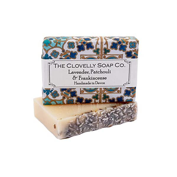 Clovelly Soap Co Natural Handmade Lavender Patchouli & Frankincense Soap Bar for all Skin Types 100g