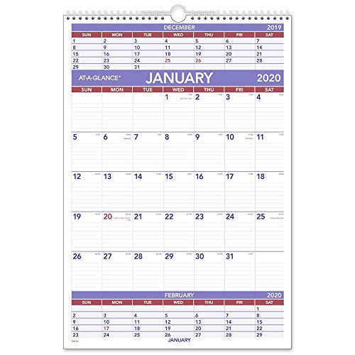 AT-A-GLANCE 2020 Wall Calendar, 15-1/2 x 22-3/4, Large, Wirebound, 3-Month Display (PM628)