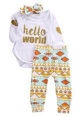 Newborn Baby Girls Top Rompers+Floral Pants Leggings Headband 3pcs Outfits Set