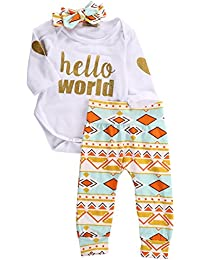 Newborn Baby Girls Top Rompers+Floral Pants Leggings...