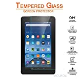 MouKou Amazon Fire HD 7 Screen Protector Glass Tempered Screen Protectors for Amazon New Fire 7'' Tablet 5th Generation (2015 New Sep Release) Lifetime Warranty