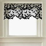 Sheer Going Batty Door Swag Fabric Black