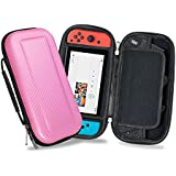 YOUSHARES Nintendo Switch Carrying Case, PU Large Capacity Waterproof Hard Shield Protective Deluxe Travel Case with 10 Game Cards for Nintendo Switch Console with Joy-Con Controller 2017 (Pink)