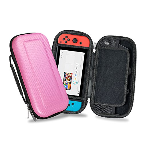 YOUSHARES Nintendo Switch Carrying Case, PU Large Capacity Waterproof Hard Shield Protective Deluxe Travel Case with 10 Game Cards for Nintendo Switch Console with Joy-Con Controller 2017 ()