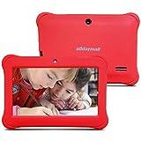 Alldaymall 2017 Nuevo Tablet para niños de 7 pulgadas 8GB (Quad Core, Android 5.1, 1GB RAM, Wi-Fi, Bluetooth) Rojo con funda de silicona (3rd Generación) ……