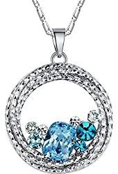"""Leafael """"Ocean Wave"""" Multi-stone Circle Pendant Necklace Made with Swarovski Elements Crystal, 18"""""""