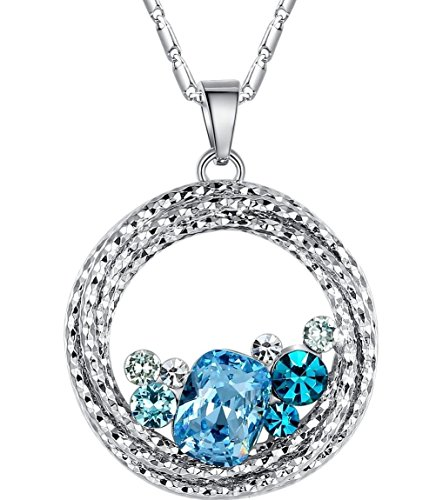 Leafael Gifts for Women Ocean Wave Necklace Made with Swarovski Crystal Aquamarine Blue Green Multi Stone Circle Pendant Womens Jewelry, Silver Tone, 18