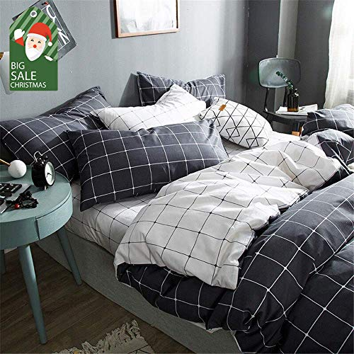 - VClife Cotton Bedding Sets Queen/Full Duvet Cover Sets Boy Girl White Black Bedding Collections Reversible Checkered Grid Pattern 3 PCS Bed Sets for All Season Home Textile for Kid Teen Woman Man