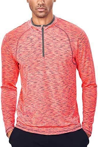 Tech Quarter Zip Pullover Running Shirt Men Dry Fit Zip T Shirt(XS, Salmon Orange & Grey)