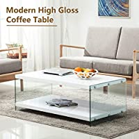 SUNCOO Glass & High Gloss Coffee Table Storage Space White