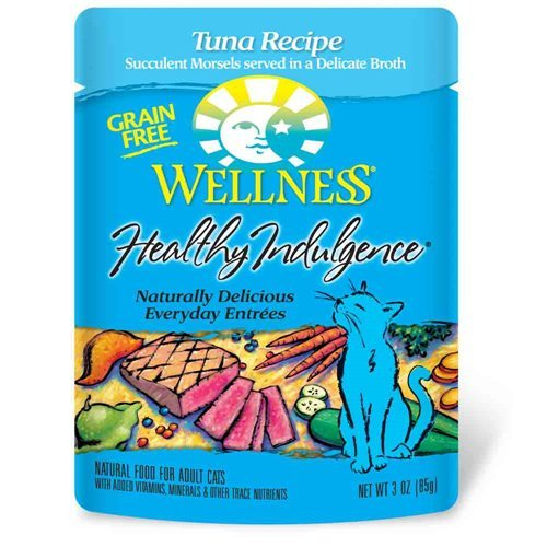 Wellness Healthy Indulgence Grain Free Tuna Natural Wet Cat Food, 3-Ounce Pouch (Pack of 24)