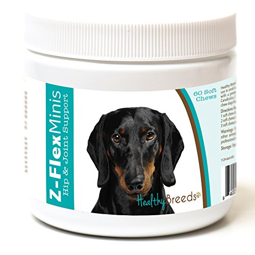 Healthy Breeds Z-Flex Minis Dog Hip & Joint Supplement Soft Chews For Dachshund, Black - Over 100 Breeds - Small Breed Formula - Glucosamine Chondroitin Msm Omega - 60 ()