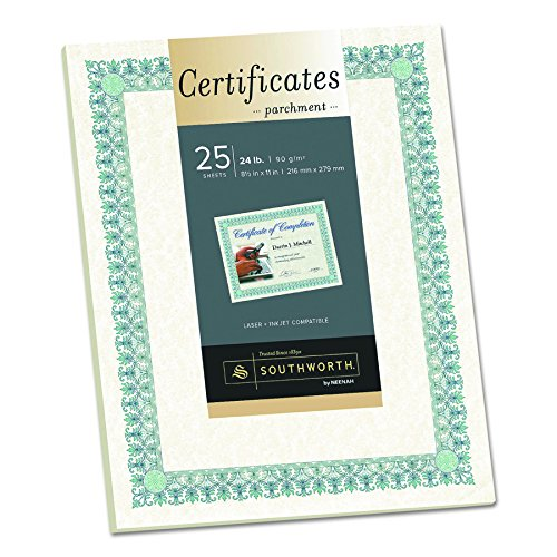 (Southworth Ivory Parchment Certificates, Green and Blue Ink, 25 Count (CT3R))