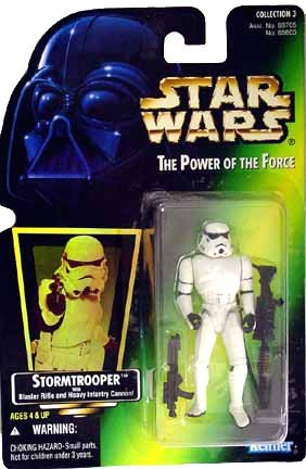 - Star Wars, The Power of the Force Green Card, Stormtrooper Action Figure, 3.75 Inches