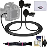 Vidpro XM-DLC Dual-Head Interview Lavalier Microphone for DSLR Cameras & Camcorders with Lens Pen + Cleaning Kit