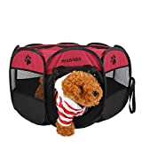 Mesasa Portable Foldable Pet Playpen - Indoor Outdoor - Dog Cat Puppy Exercise pen Kennel - Removable Mesh Shade Cover - dog pop up silhouettes pet pen - Champagne