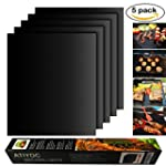 Atiyoc BBQ Grill Mat Non stick and Heat Resistant Mats for Charcoal Electric and Gas Grill FDA Approved PFOA Free 5 Pack
