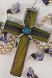 Handmade Mini Cross Stained Beach Glass Suncatcher Christian Ornament