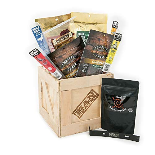 Man Crates Exotic Meats Crate - The Ultimate Gift For Meat Lovers - Includes 10 Rare Jerky Flavors Like Alligator, Wild Boar, Elk and More - Ships In A Sealed Wooden Crate With A Laser-Etched Crowbar