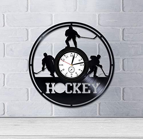 Kovides Ice Hockey Wall Clock Modern Hockey Vinyl Clock Hockey Team Gift Hockey Vinyl Wall Clock Hockey Vinyl Record Wall Clock Hockey Clock Sport Gift for Him Sport Clock Ice Hockey Gift for Man